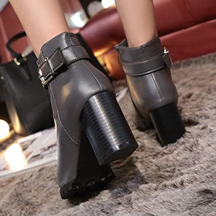 Amazon.com: Gyoume Winter Ankle Boots Women High Heel Boots Xmas Shoes Buckle Strap Boots Shoes Keep Warm: Clothing