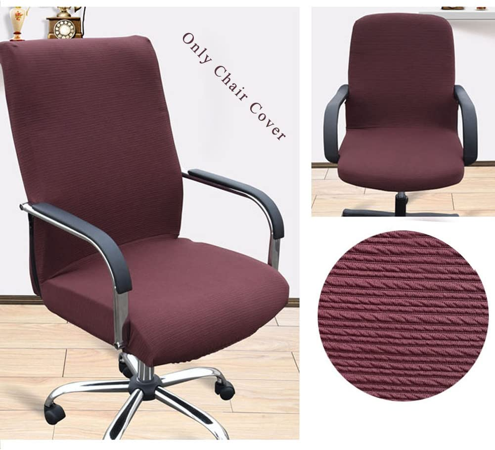 Trycooling Modern Simplism Style Chair Covers Cotton Office Computer Stretchable Rotating Chair Cover (Small, Coffee)