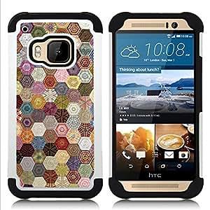 - hexagonal pattern sewing fabric/ H??brido 3in1 Deluxe Impreso duro Soft Alto Impacto caja de la armadura Defender - SHIMIN CAO - For HTC ONE M9