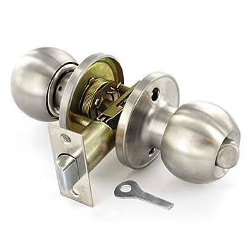 Satin Stainless Steel Door Knob Set - Entrance (Key Locking): Amazon ...