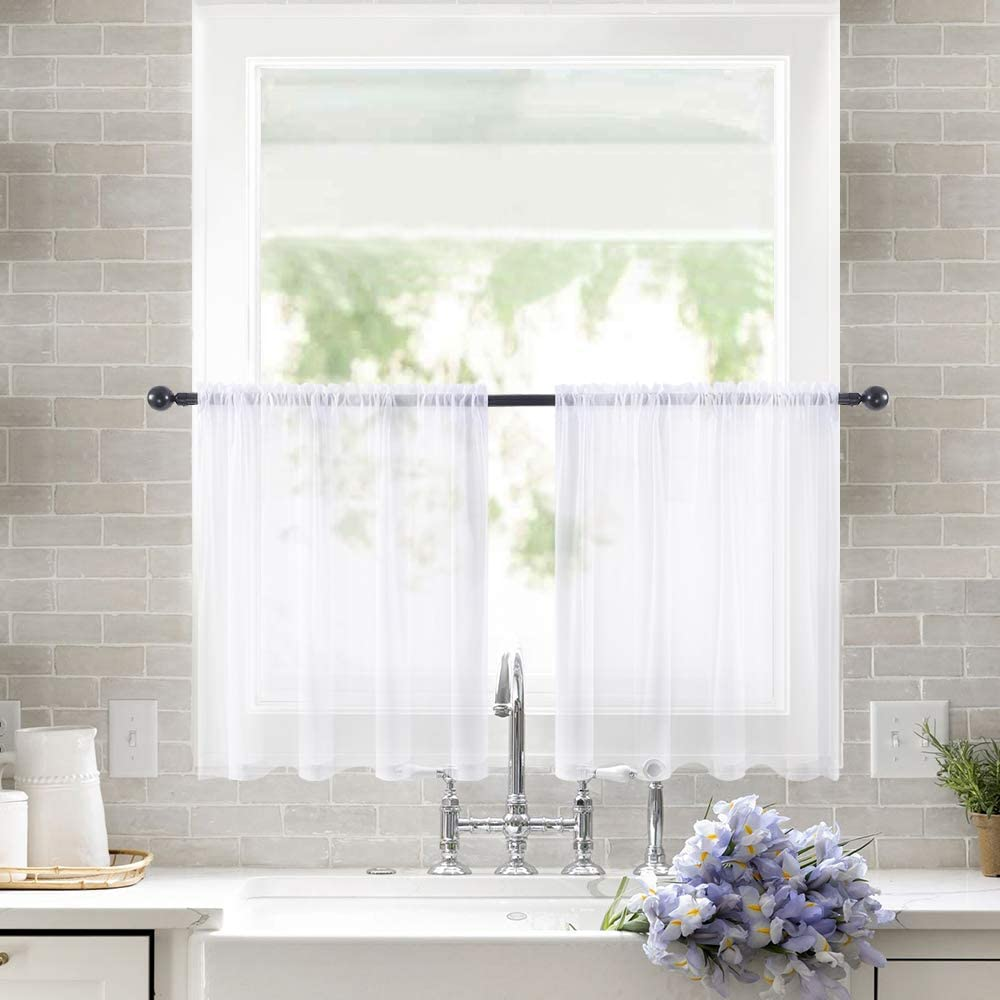 MIULEE 2 Panels Kitchen Tiers Half Window Sheer Curtains Rod Pocket Semitranslucent Voile Drapes for Kitchen Bathroom Small Windows 29 by 24 Inch White