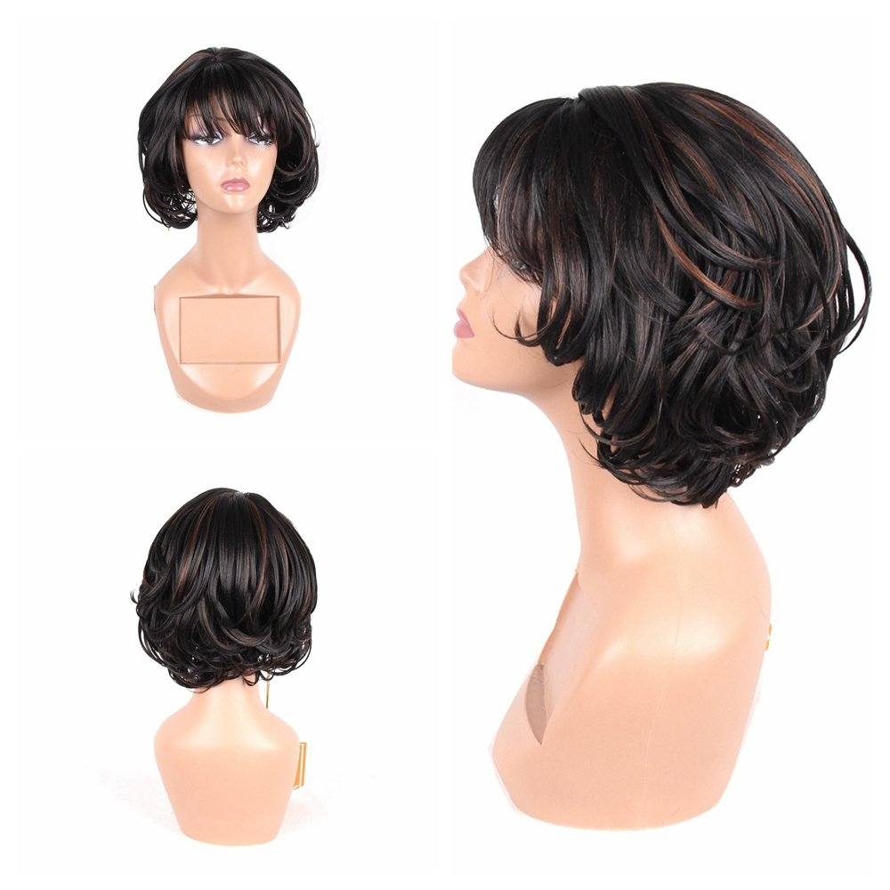HAIR WAY Short Bob Wig with Bangs for Women Premium Japanese Fiber Hair Wavy Bob Wig Natural Like Human Hair for Daily Wear 8inches #1B/30