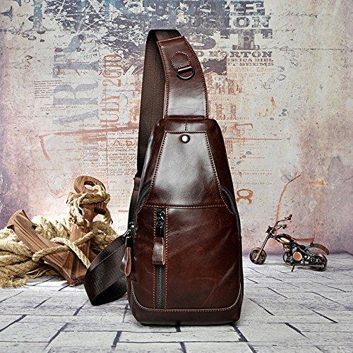 Tacnhen Men Genuine Leather Business Crossbody Bag Vintage Chest Bag