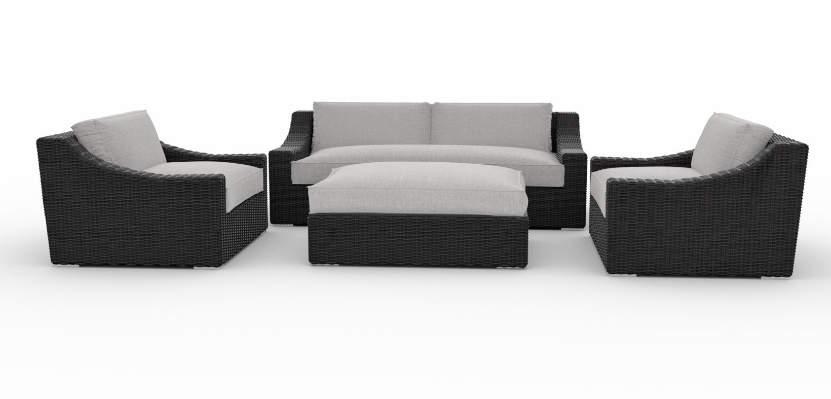 Toja Bretton Outdoor Patio Sofa Set (4 pcs) | Wicker Rattan Body with Sunbrella Cushions (Cast Silver) - BEAUTIFUL DESIGN & UNMATCHED COMFORT - Our Bretton line has a higher back and modern sloping arms. The durable PE wicker body has a modern design that looks great on any patio or in any outdoor area. High-density foam cushions provide unmatched comfort and ample seating space. ALL-WEATHER DURABLE WICKER BODY - This couch set's durable construction ensure that you'll enjoy your Toja furniture for years to come. The furniture's powder coated aluminum frame is covered in a tight double weave of durable PE wicker rattan. SUNBRELLA CUSHIONS - The patio furniture set's cushions are crafted from high-density foam and a soft Sunbrella fabric which resists fading and keeps your furniture looking new. Along with being stain and mildew resistant, the Sunbrella fabric is suitable for all types of weather and provides unmatched protection from rain, sun, and other elements. - patio-furniture, patio, conversation-sets - 61CpXP1PCrL -