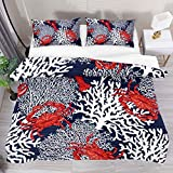 FCZ Bedding Set Red Crayfish Crab Sea White Coral