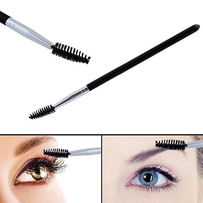Msmask Varita de rímel de pestañas Peine de pluma Cepillo espiral ceja Metal Negro Mejorar Maquillaje: Amazon.es: Belleza