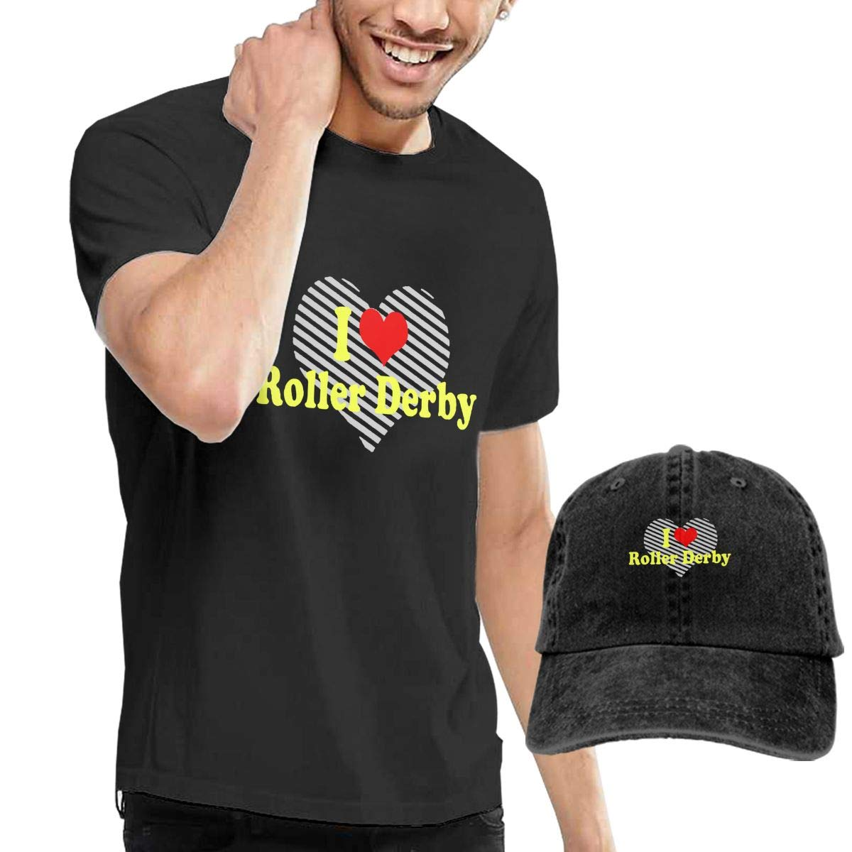 I Love Roller Derby Adult Mens Summertime T Shirt and Fishing Jean Cap