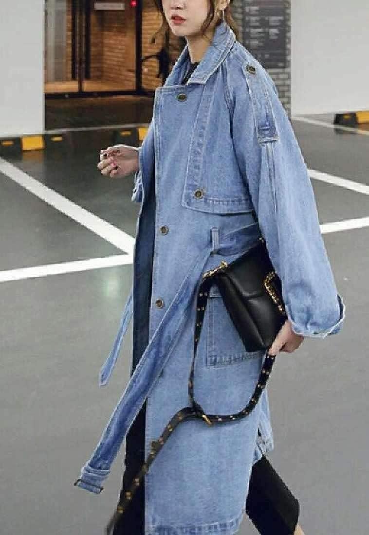 GRMO Women Belted Outwear Washed Windbreaker Denim Long Sleeve Long Coat