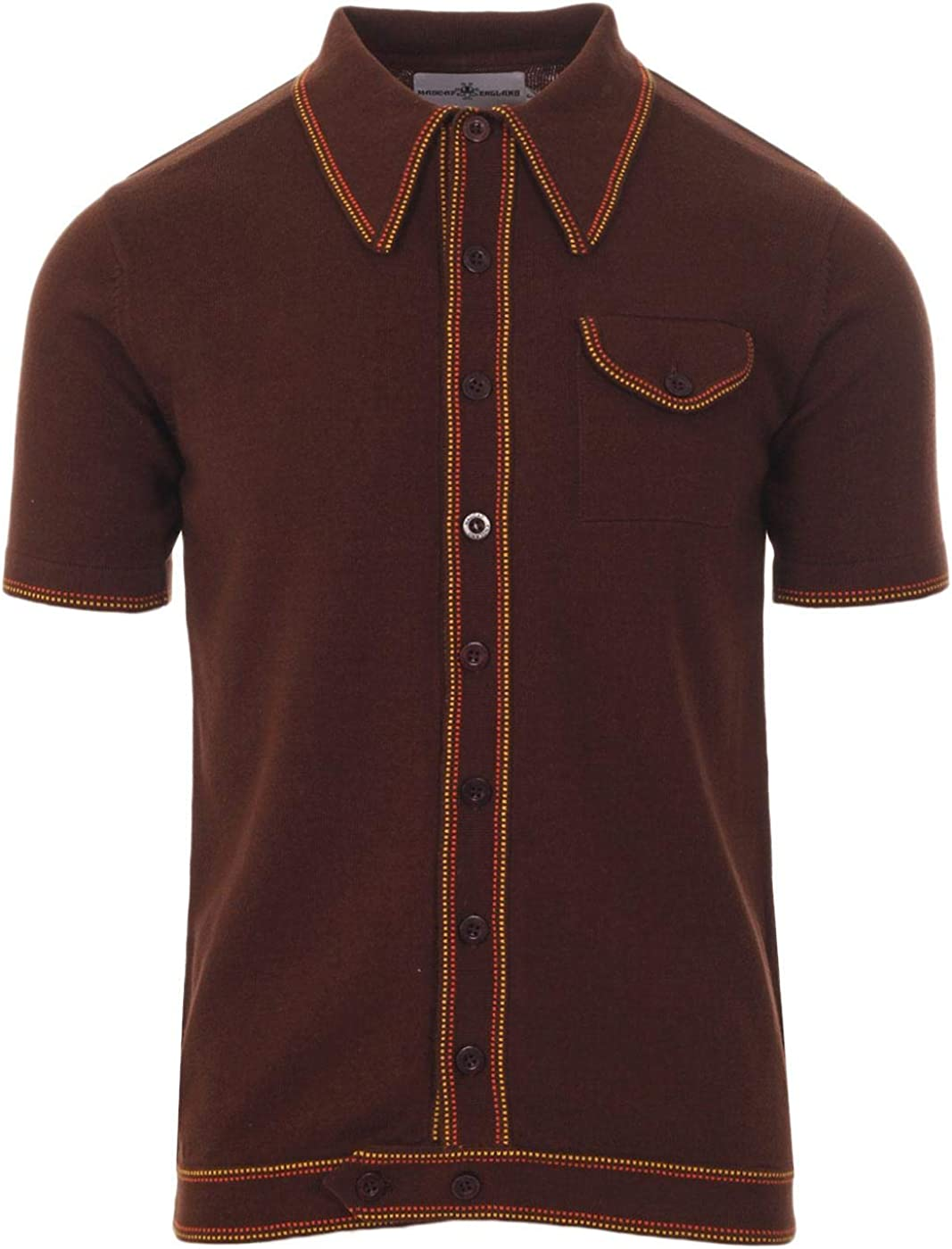 60s 70s Men's Clothing UK | Shirts, Trousers, Shoes Madcap England Crawdaddy Micro Dash Knit Polo Caramel MC166 £34.99 AT vintagedancer.com
