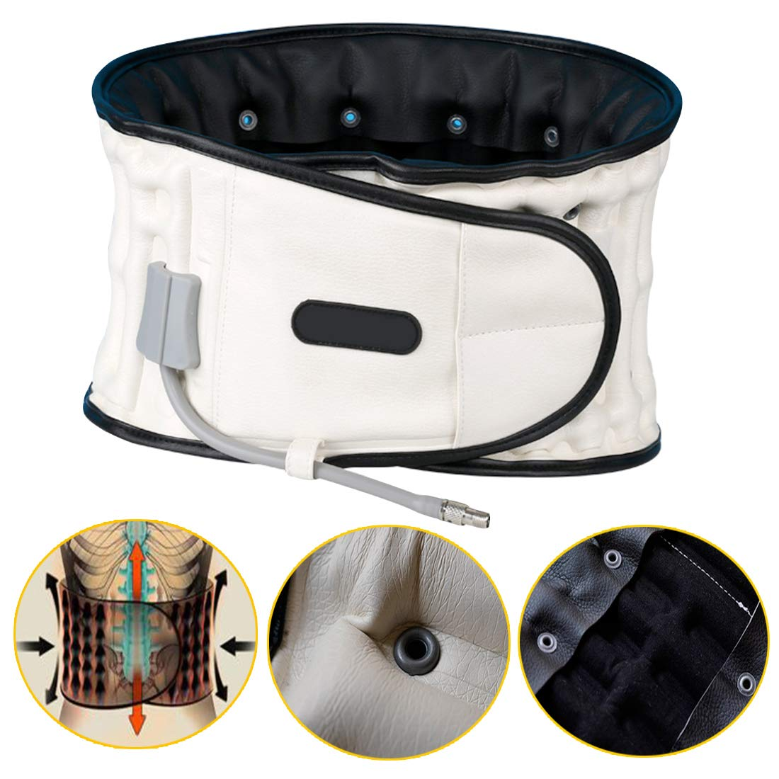 Inflated Lumbar Support Relieves Pressure On The Waist and Relieves Lower Back Pain,Decompression Back Belt With One Size for 29 inches to 49 inches. (White)