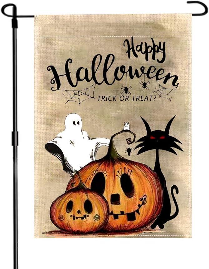 NICEN Happy Halloween Garden Flag Trick or Treat Pumpkin Black Cat Ghost Flag for Halloween Decor Burlap Double Sided Halloween Flag 12.5x18 Inch