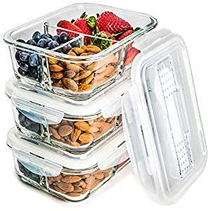 Glass Meal Prep Containers 3 Compartment - Food Storage Container Set with Airtight Locking Lids with Cutlery Compartment - Portion Control - Microwave, Freezer, Oven & Dishwasher Safe [3-Pack, 32oz]