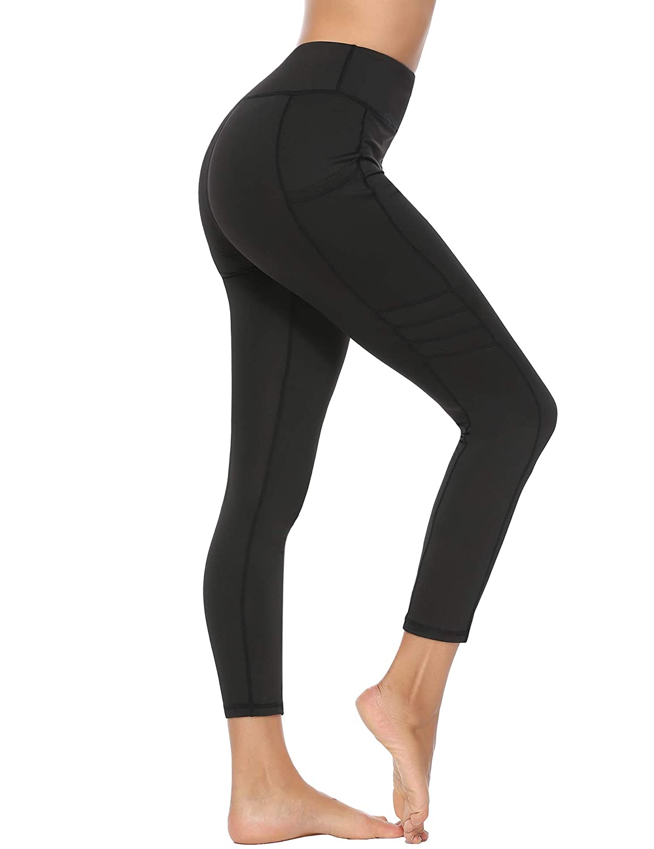 Sykooria Damen Fitnesshose Kn/öchell/änge Sport Hosen High Waist Fast Dry H/üfthose Yogahosen Gym Frauen Hose Schwarz XL