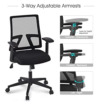 langria midback ergonomic office chair mesh chair swivel computer task chair with adjustable arms