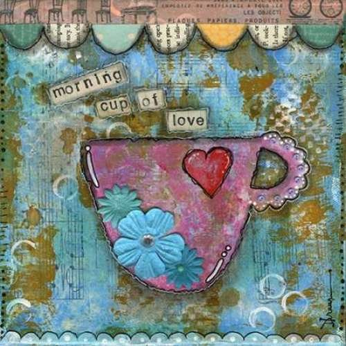 "Morning Cup of Love by Denise Braun - 20"" x 20"" Giclee Canvas Art Print"
