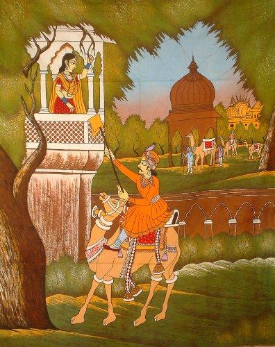 Medieval Postman - Batik Painting On Cotton Fabric