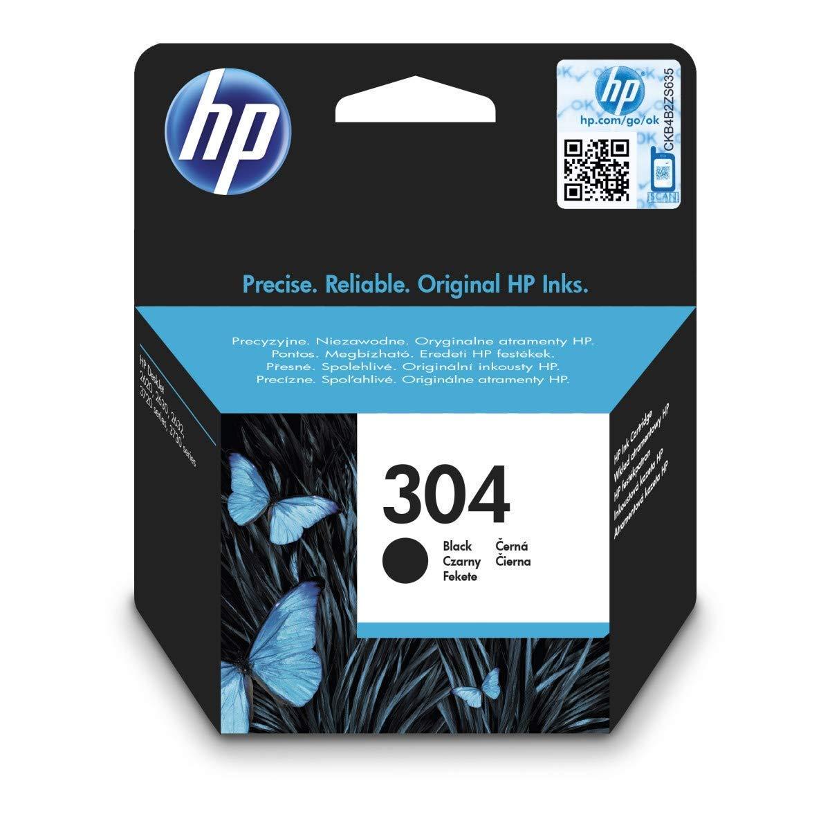 HP 304XL Schwarz Original Druckerpatrone mit hoher Reichweite für HP DeskJet 2630, 3720, 3720, 3720, 3730, 3735, 3750, 3760; HP ENVY 5020, 5030, 5032