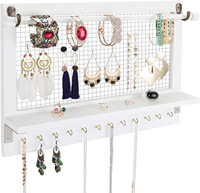Ring Holder. Jewelry Stand with 12 Hooks for Necklace Racks White Jewelry Shelves with Removable Rod for Bracelets Storage Vencipo Wooden Wall Mounted Jewelry Organizer Shelf for Hanging Earrings