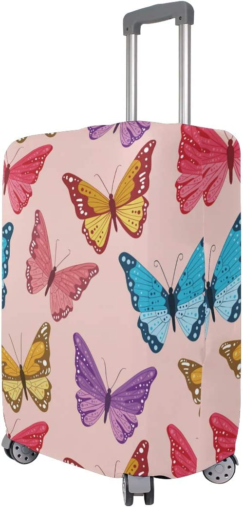 Baggage Covers Flying Red Purple Blue Yellow Butterflies Washable Protective Case