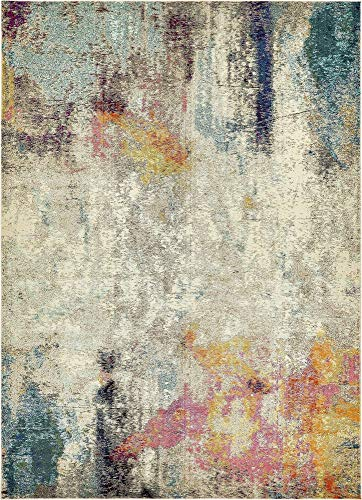 Unique Loom Chromatic Collection Modern Abstract Colorful Beige Area Rug (9' 0 x 12' - 9x12 Area Beige