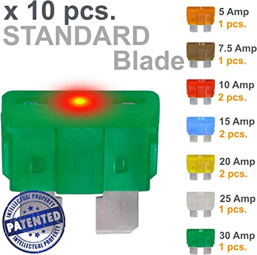 3 Amp Led Mini Blade auto fusibles 3a Glow cuando sopla Mini hoja fusibles 5 Pack