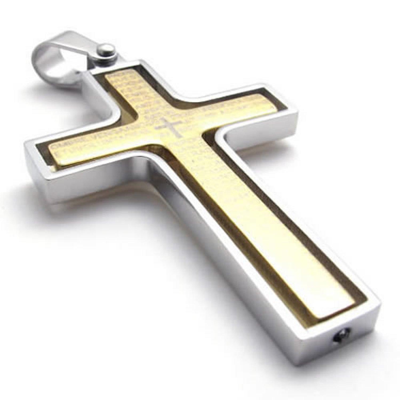 Mendino Men's Stainless Steel Pendant Chain Necklace Rotating Bible Cross Gold with a Velvet Bag