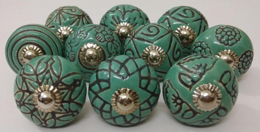 Indian Boutons 10/Vert deau Look vintage sculpt/é /à la main en c/éramique Boutons de porte placard de cuisine