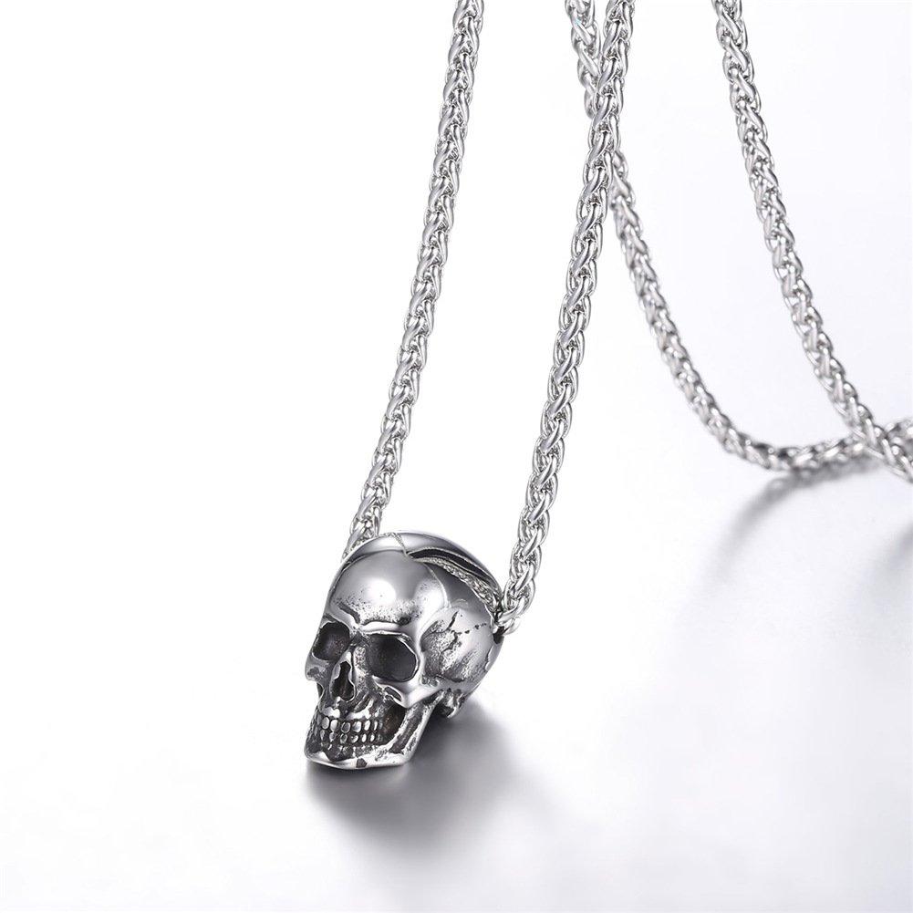 U7 Collar Cráneo Calavera Estilo Punk Acero Inoxidable Chapado en ... 8581e823c73