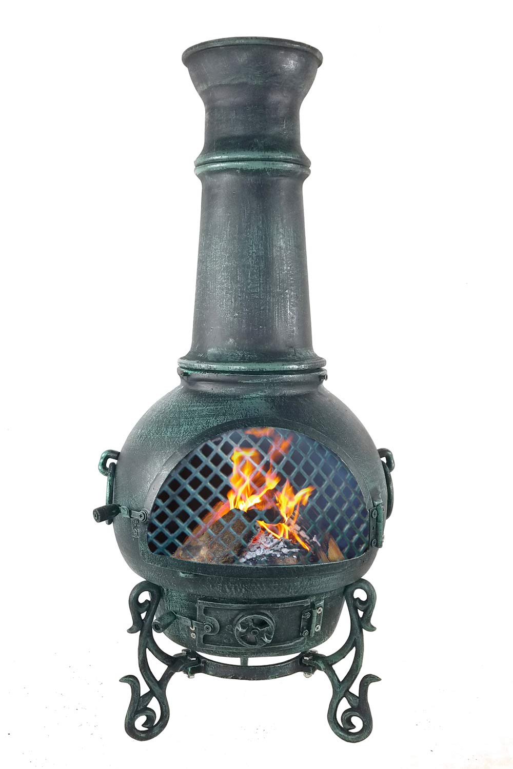 The Blue Rooster CAST Aluminum Gatsby Wood Burning Chiminea in Antique Green. by The Blue Rooster