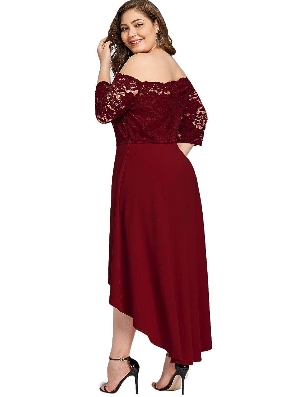 GAMISS Womens Vintage Off Shoulder Cocktail Dress Plus Size Floral Lace 3//4 Sleeves Wedding Dress S-5XL