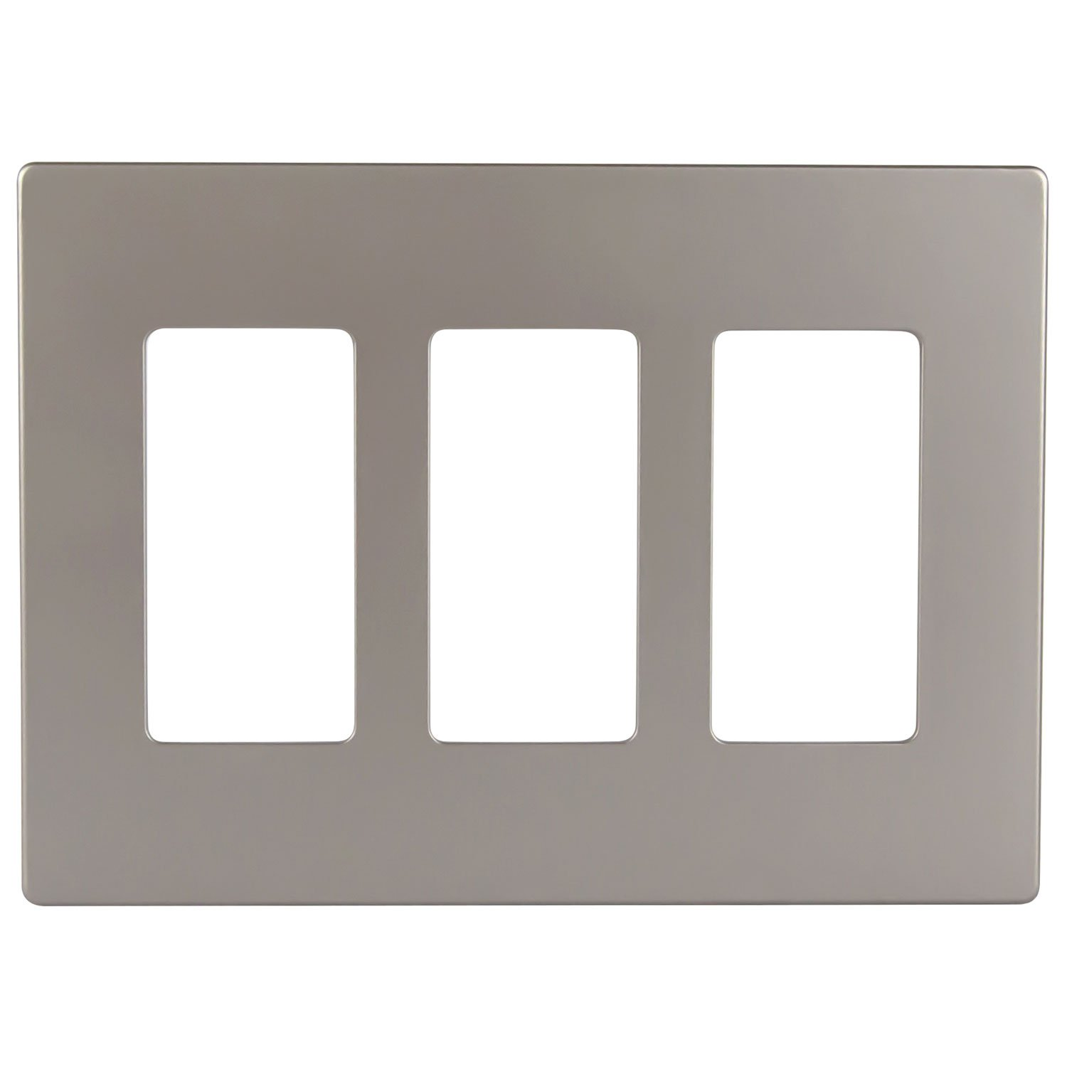 Enerlites SI8833N-NK Elite Series Decorative Screwless Decorator Wall Plate Child Safe Outlet Cover, 3-Gang Standard Size, Polycarbonate Thermoplastic, Nickel Color