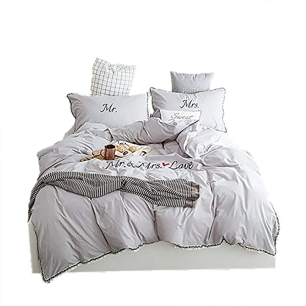 BeddingWish Simple Washed Cotton Bedding Sets Embroidery Mr&Mrs Love with Tassels 1 Duvet Cover 2 Pillowcases 1 Gray Bed Sheet-Gray,King Size