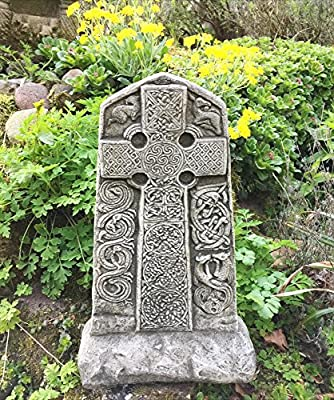 Antikas - Cruz Bilateral con Muestra célticas - Cruz de Piedra decoración jardín Entrada Camino - Piedras Tumba: Amazon.es: Jardín