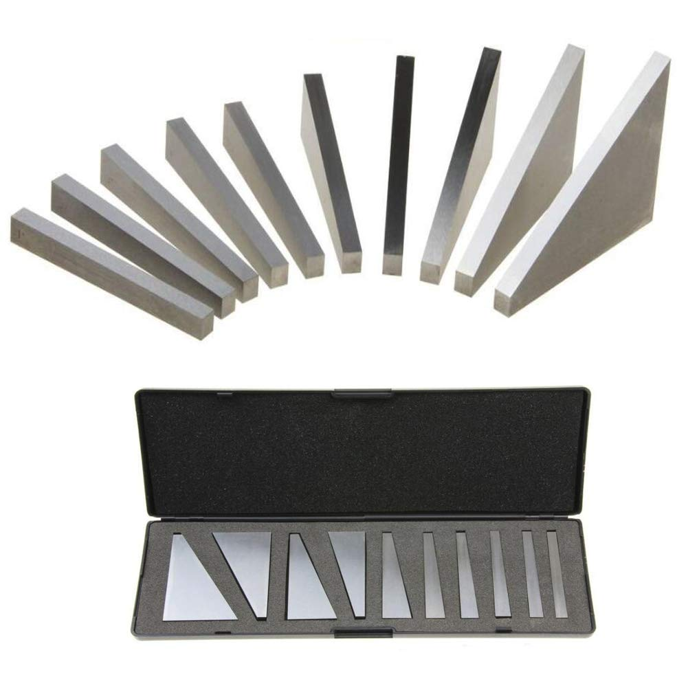 Chiloskit 10 Piece Precision Angle Calibration Gage Inspection Block Set Machinist Tool 1°, 2°, 3°, 4°, 5°, 10°, 15°, 20°, 25°, 30°
