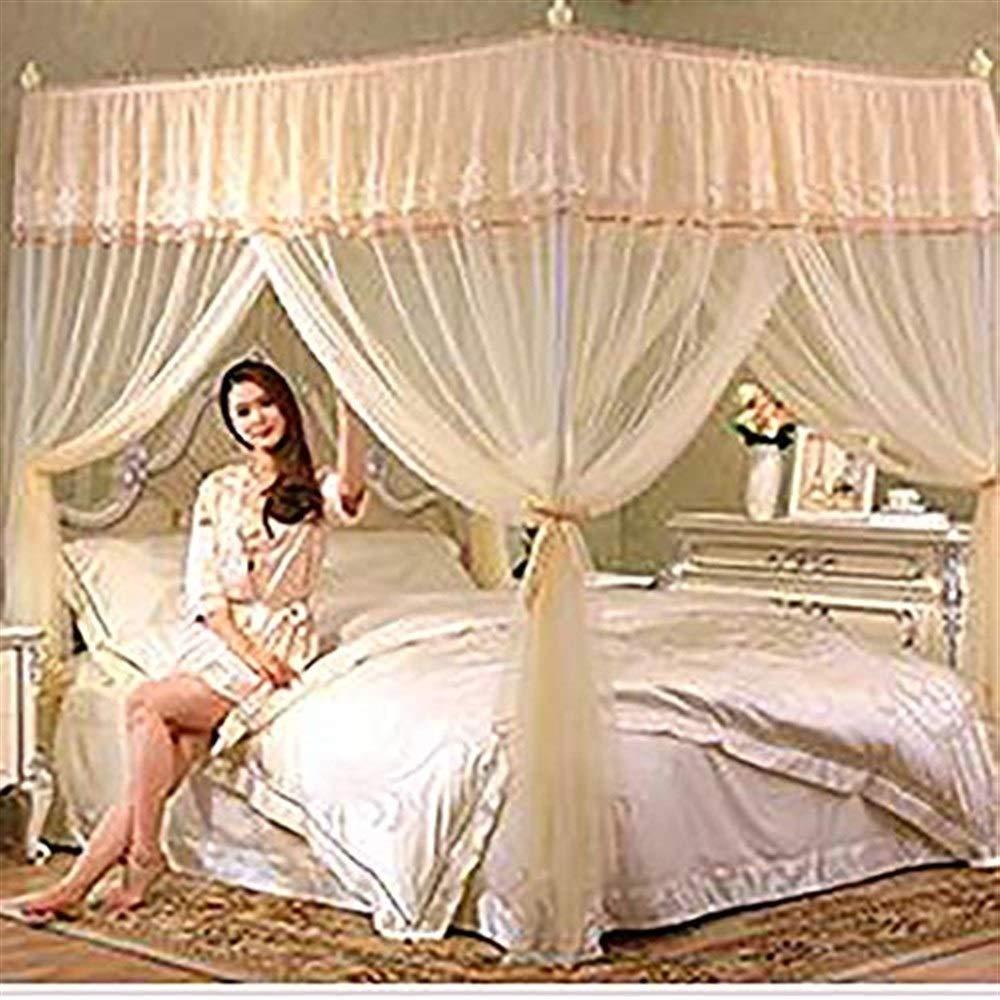 蚊帳キャノピーベッドベッドキャノピー&ドレープ 四隅ピンクの蚊帳の天蓋付きベッド、プリンセスパレスダブル暗号化ホームページヒールサポート3 - 蚊帳 - 黄色、キング 蚊帳   B07RNLY71Z