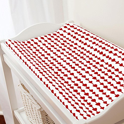 Carousel Designs Red Heart Strings Changing Pad Cover - Organic 100% Cotton Change Pad Cover - Made in the USA by Carousel Designs