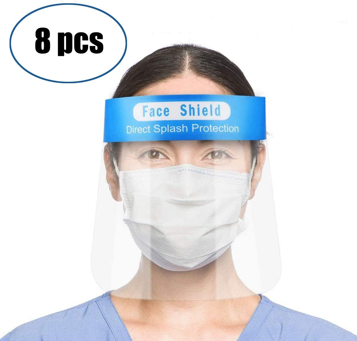 Enjoyee 8 pzs Visera Protectora para la Cara, de plástico Ligero, Ajustable, Transparente, para Evitar la Saliva, Gotas, Polen y Polvo (Azul)