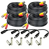 Amcrest 4-Pack 60 Feet Pre-Made All-in-One Siamese BNC Video and Power CCTV Security Camera Cable with Two Female Connectors for 960H & HD-CVI Camera and DVR (SCABLEHD60B-4pack)