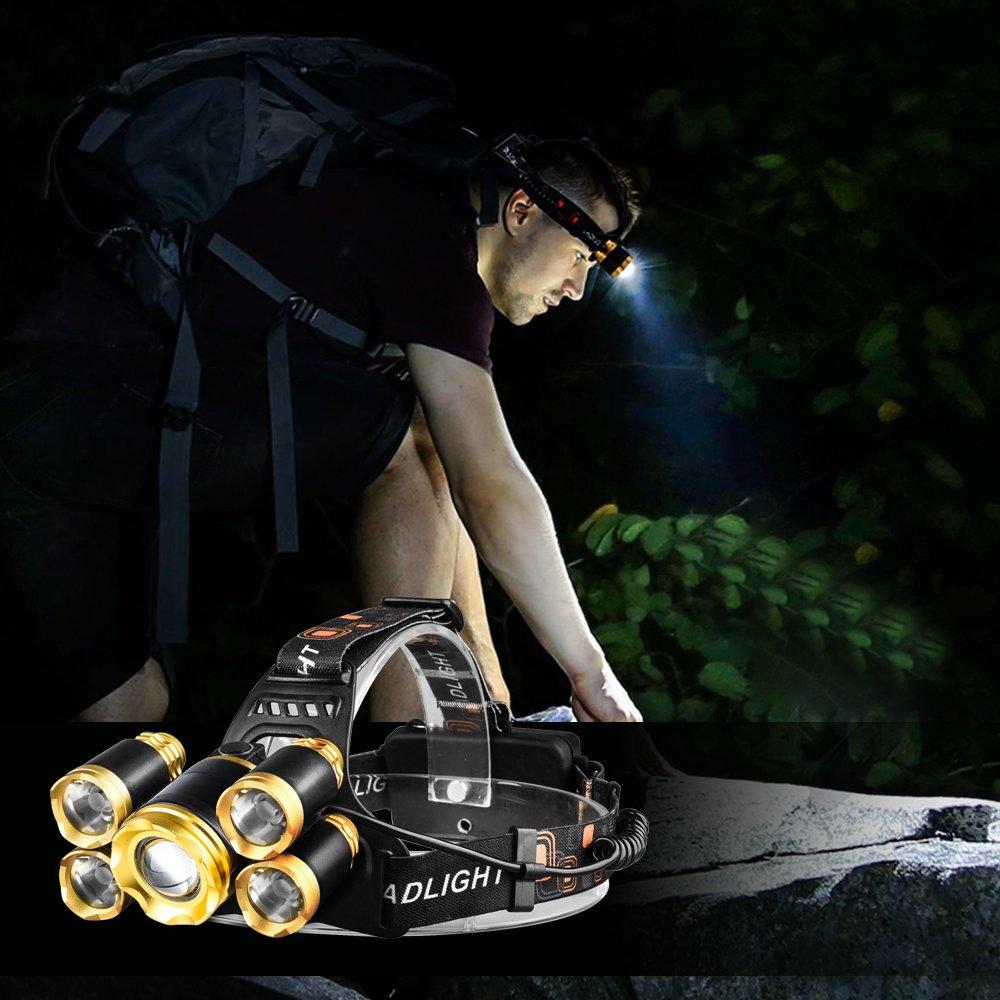 FightingGirl 5 Led Headlamp 12000 Lumen Flashlight- Rechargeable 18650 Headlight Flashlights Waterproof Hard Hat Light Bright Head Lights Camping Running Hiking Headlamps by FightingGirl (Image #5)