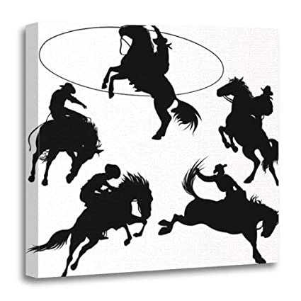 d2c553ba34f48 Emvency Canvas Prints Square 16x16 Inches Rodeo Cowboys On Horses  Silhouettes White Hat Bucking Lasso Saddle