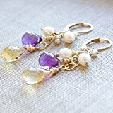 Amethyst Citrine Earrings Gemstone White Freshwater Cultured Pearl 14kt Gold Filled Lever Back