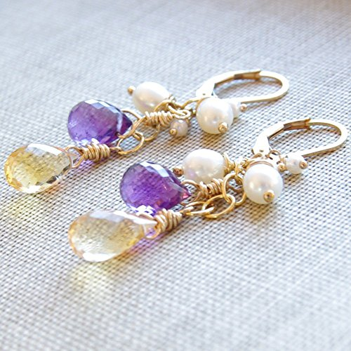 Amethyst Citrine Earrings Gemstone White Freshwater Cultured Pearl 14kt Gold Filled Lever Back by Jewelry Design By SS
