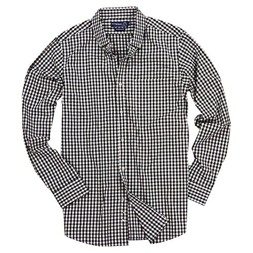 Men's Stretch Fit Gingham Plaid Button Down Long Sleeve Shirt (Black/White, Slim Fit: X-Large)