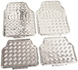 Automotive : BDK Universal Fit 4-Piece Metallic Design Car Floor Mat - (Silver)