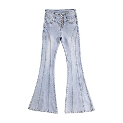 Pantalones Ropa Vaqueros Campana Cintura Alta De Mujer Jeans ...