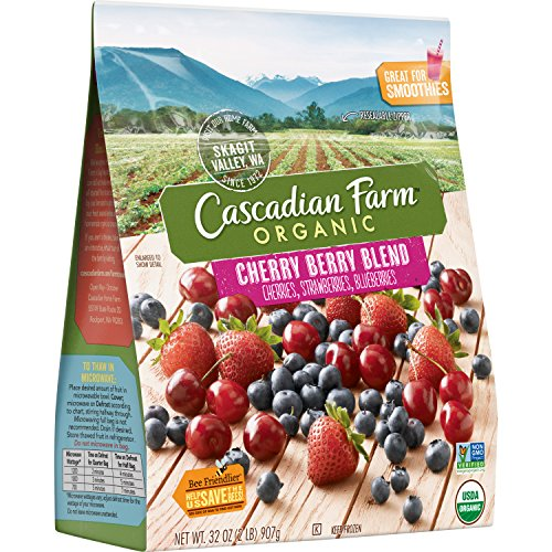 Cascadian Farm Organic Cherry Berry, 32oz Resealable Bag (Frozen), Organically Farmed Frozen Cherries, Strawberries, Blueberries, Non-GMO