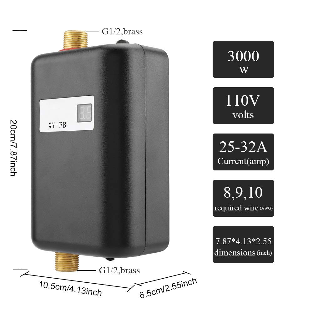 3000W Mini Electric Tankless Instant Hot Water Heater with LCD Display for Home Bathroom Kitchen Washing US Plug 110V (Black) by Garosa (Image #2)