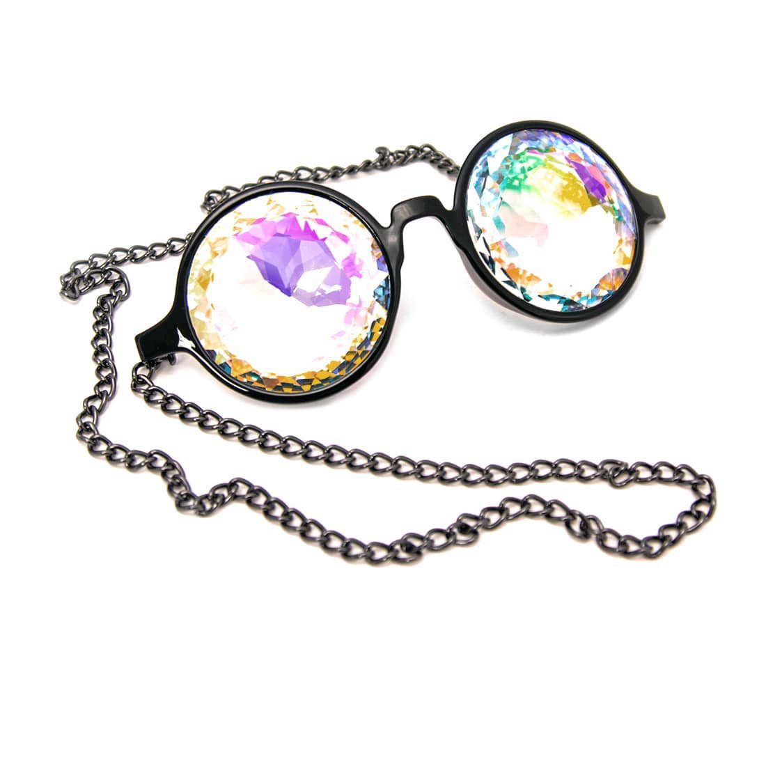 GloFX Chain Kaleidoscope Glasses Rainbow Rave Prism Diffraction