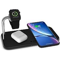 Zens Qi-Gecertificeerd, Draadloos Aluminium Laadpad, Ondersteunt Fast Wireless Charging Tot 10 Watt, Werkt Met Alle Apparaten Met Draadloos Opladen, Zwart