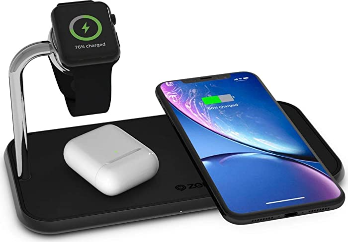 Dual 10-Watt Aluminum Wireless Charging Pad and Watch Charger Station - Qi and MFi Certified - Supports Apple and Samsung Fast Charge - Adapter Included - Black